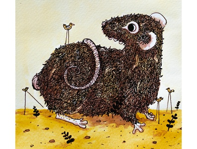 Little-giant mouse animal illustration mause birds surreal nature painting my creatures lineart illustration art illustration ink aquarelle