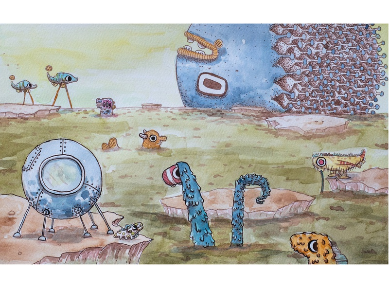 Aliens in their home surreal nature book page my creatures lineart illustration art painting ink illustration aquarelle