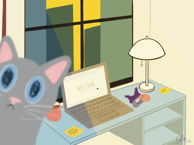 Work from Home chowder procreate drawing illustration art cat cute interior desk work wfh home