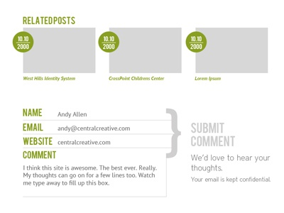 Wireframing Blog Footer green gray wireframe font bebas font district comment form related posts