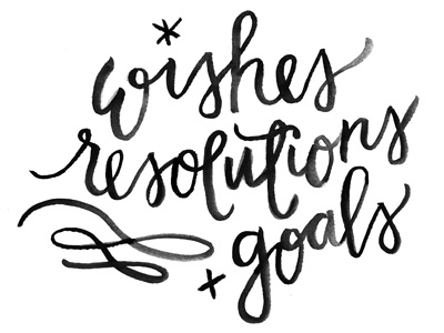 Wishes, Resolutions and Goals watercolor brush lettering hand lettering script calligraphy typography