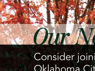 Inside Spread of College Brochure trees fall green overlay