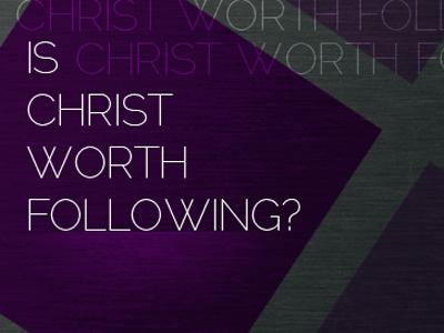 Is Christ Worth Following church slide graphic purple cross metal texture