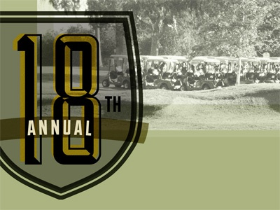 18th Annual green yellow lost-type badge golf