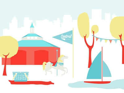 Central Park Illo central park illustration blue red boat trees picnic carousel