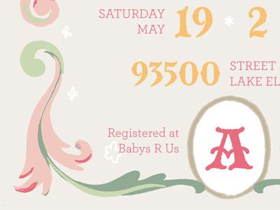 Baby Shower Invite shower invitation invite pink green baby princess