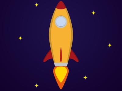 Rocket Ship inspired design vector minimalistic illustration