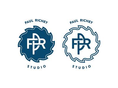 Paul Richey Logo sculpture woodworking studio richey paul pr blade saw logo