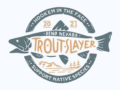 Trout Slayer vintage logo branding vector illustration lettering customdesign typogaphy wordmark logo logotype logodesign