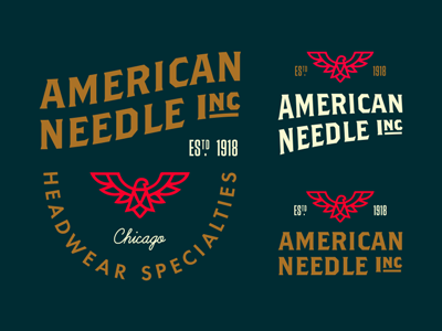 American Needle Marks lockup illustration shield type eagle retro vintage clothing mark logo badge americana