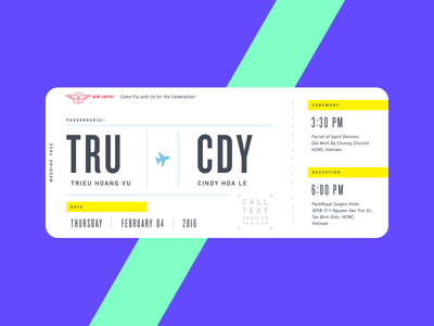 Wedding Card  type typography icon mark logo neon airplane illustration card boarding pass invitation wedding
