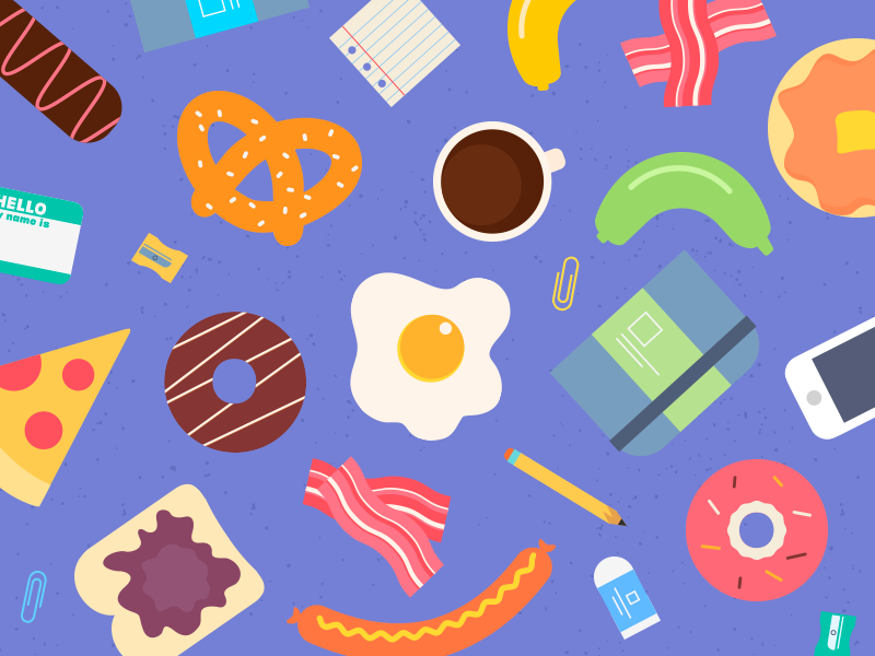 AIGA Breakfast Club  illustration pizza sausage pretzel banana coffee donut pancake egg bacon food breakfast