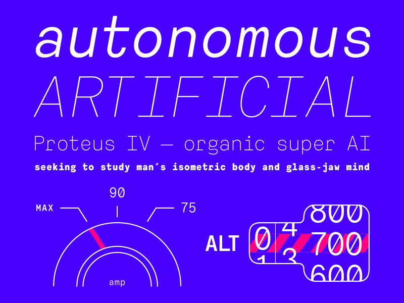 ATC Harris Typestack type typography illustration monospace minimal font techy neon blue robot computer plane car