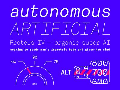 ATC Harris Typestack type typography illustration monospace minimal font techy neon blue robot computer plane car
