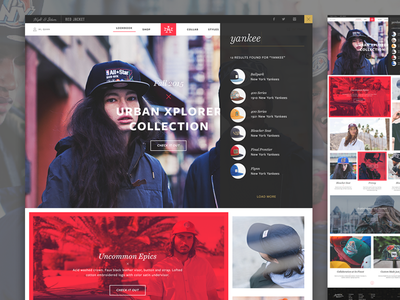 American Needle Web Direction collage apparel web minimal photography typography ux ui interaction website
