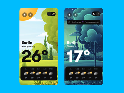 Weather App - Animation microanimation micro berlin rain weather app design illustration interaction after effects motion graphics graphic design 3d animation