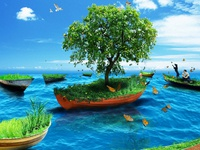 Islands on Boat - Matte Painting