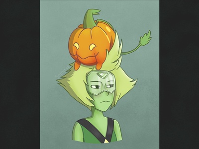 Peridot digital illustration pumpkin fanart steven universe peridot digital art digitalart art illustration