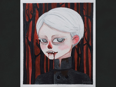 DTIYS bloody mary watercolor art watercolour art watercolor vampire draw this in your style drawthisinyourstyle dtiys illustration