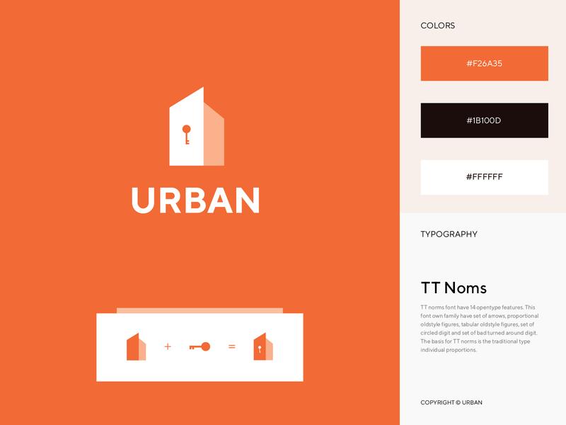 URBAN - Real Estate Logo flat minimal typography design property sell urban rent real mark logo identity icon house estate branding brand