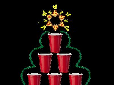 SoloXmas christmas xmas solo cup pizza illustration vector illustrator illustration art design