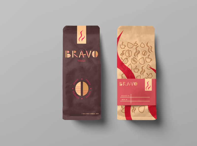 Coffee Bags -bravo tango logo illustration design