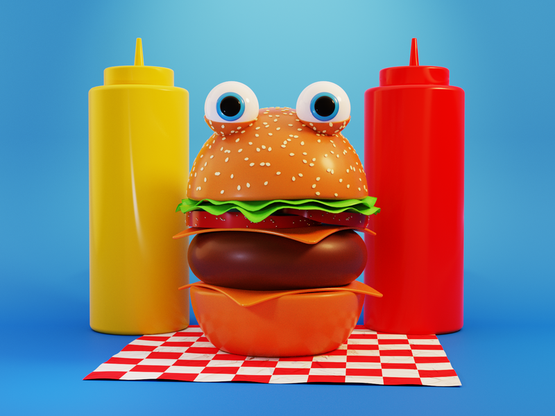 Burger Boy food burger 3d illustration food illustration blender3dart b3d blender3d characterdesign character 3d art 3d design illustration