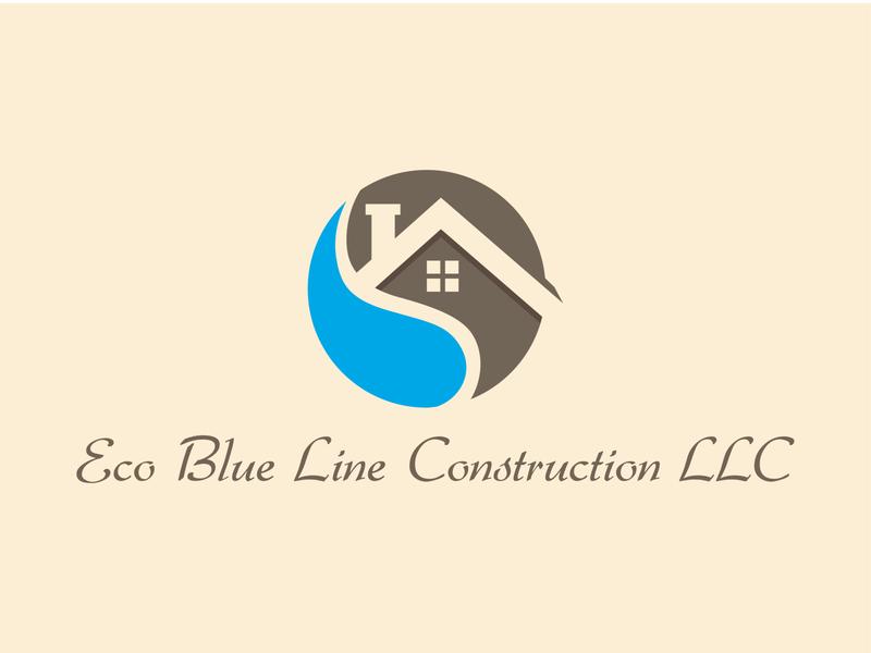 Eco Blue Line Construction Logo flat web branding vector design logo realestate