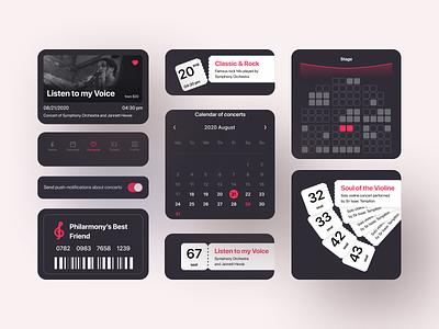 Philarmony Tickets Mobile App | UI Kit orchestra culture ticket booking ticketing tickets ticket philarmony music ui ux application app