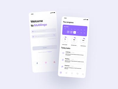 Language Learning | Mobile App for Language School language learning language school language app language application ui design ux app
