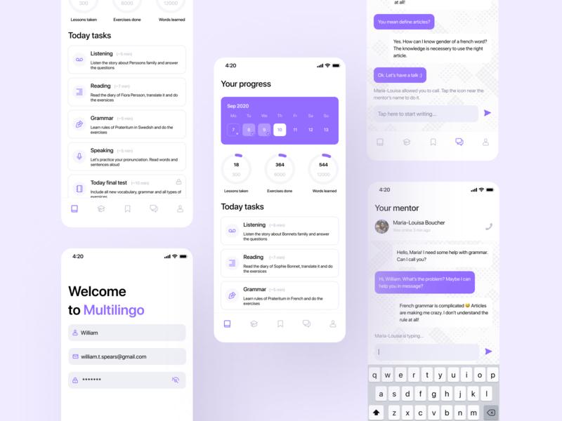 Language Learning   Mobile App for Language School language learning language school langing page languages language ui design ux application app