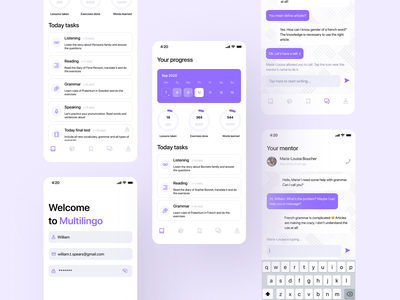 Language Learning | Mobile App for Language School language learning language school langing page languages language ui design ux application app