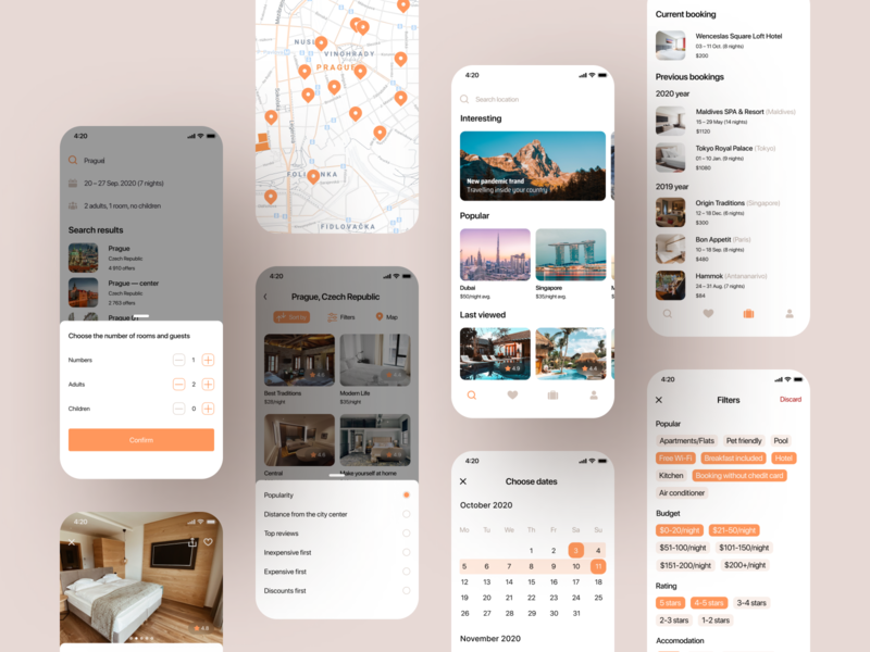 Hotel Booking | Mobile App (more screens)