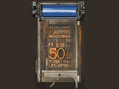 Letterpress style poster for Mailboxes etc. poster typography design logo design printing illustration graphic design branding
