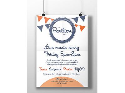 Pavillion Cafe Poster poster vector charity logo design design vectors illustration logo printing geometric graphic design branding
