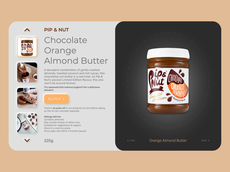 Chocolate Orange Almond Butter - Product Card ui branding design concept illustration website webdesign uxui ux design ui design
