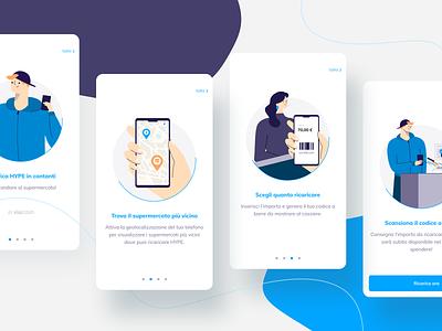 Cash top-up walkthrough ux illustration vector user interface ui walkthrough banking fintech onboarding mobile app