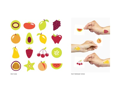 Fruit Icons vector temporary tattoo tattoo colorful fruits fruit icon illustration sticker print illustrator flat portfolio