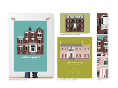 Houses of Savannah house illustration savannah houses house colorful vector illustration design print illustrator flat portfolio