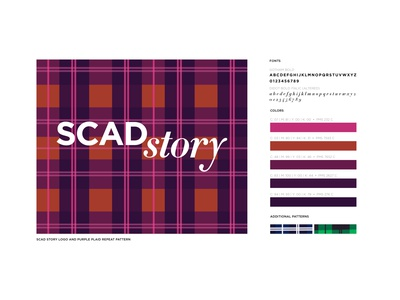 SCADstory Logo and Plaid wallpaper portfolio scad vector illustrator logo design typography type branding logotype plaid logo