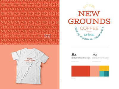 New Grounds Coffee Branding adobe illustrator illustrator design coffeeshop colorpalette logo logos typography logo logo design logotype monogram design monogram tshirtdesign tshirt vector flat typography graphic designer graphic design graphic