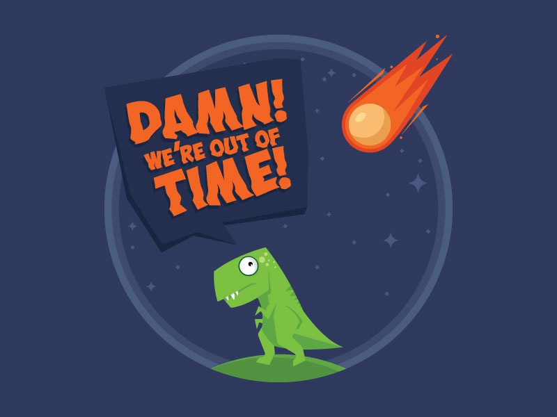 Dinorun time fun tshirt asteroid trex dinosaur vector illustration