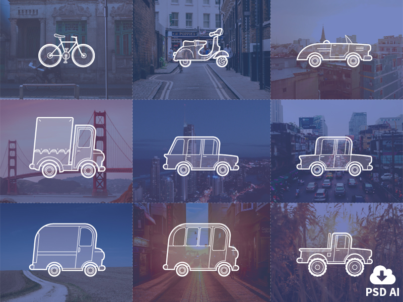 Free Outline Vehicle Icons vector outline psd freebie ai minimal icons vehicles transportation