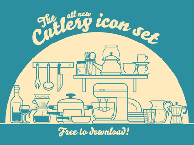 Cutlery Icons kitchen icons free freebie minimal outline download