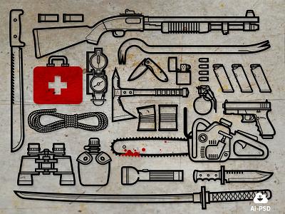 Zombie Survival Kit free freebie tools weapons zombie apocalypse icons vector image minimal