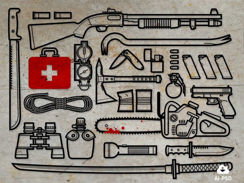 Zombie Survival Kit free freebie tools weapons zombie apocalypse icons vector image minimal