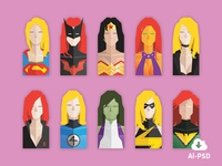 Superheroines super heroes heroines female flat design icons busts