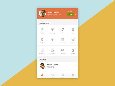 Freecharge iOS app design reboot icons minimalist design mobile ios