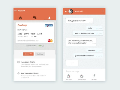 Freecharge Android app - Accounts + Chat Experience materialdesign clean minimalist ui chat android