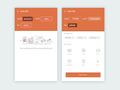 Split bills experience UI clean minimalist form language natural ios